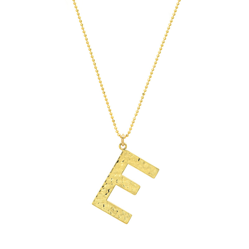 Hammered Letter Necklace - E