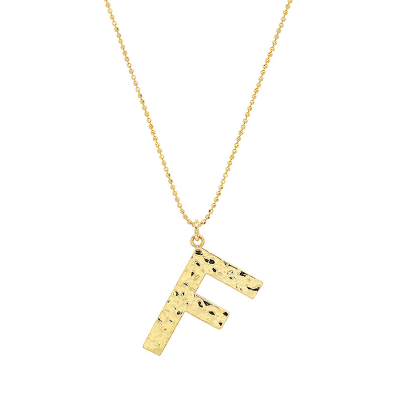Hammered Letter Necklace - F