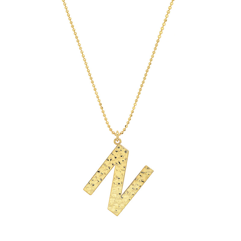 Hammered Letter Necklace - N
