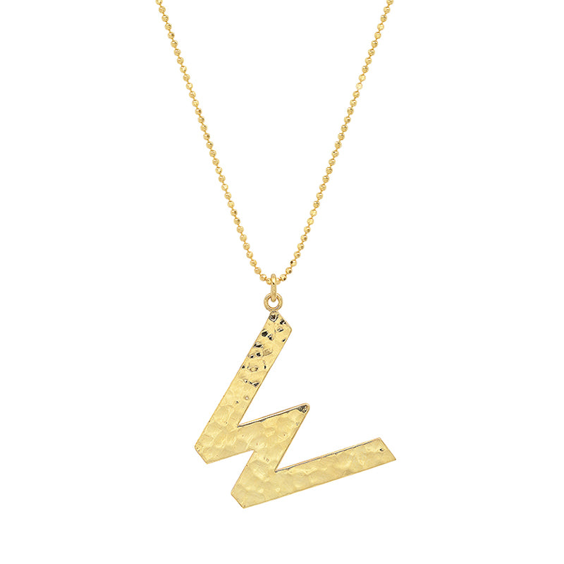 Hammered Letter Necklace - W