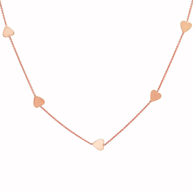 Rose Gold Heart-by-the-Inch Necklace