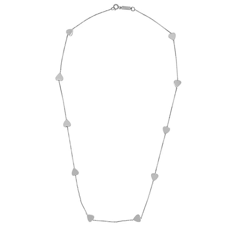 White Gold Heart-by-the-Inch Necklace