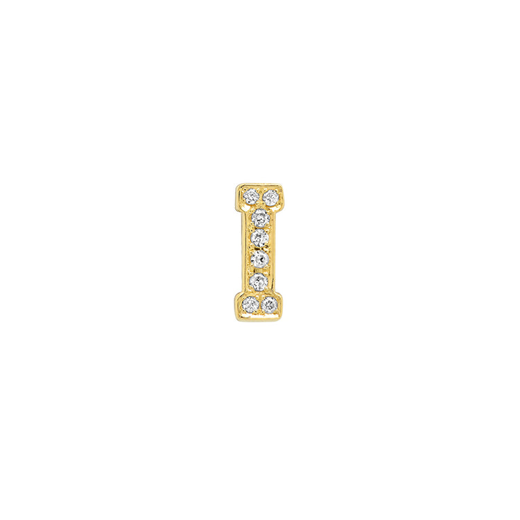 Diamond Mini Uppercase Letter Stud - I