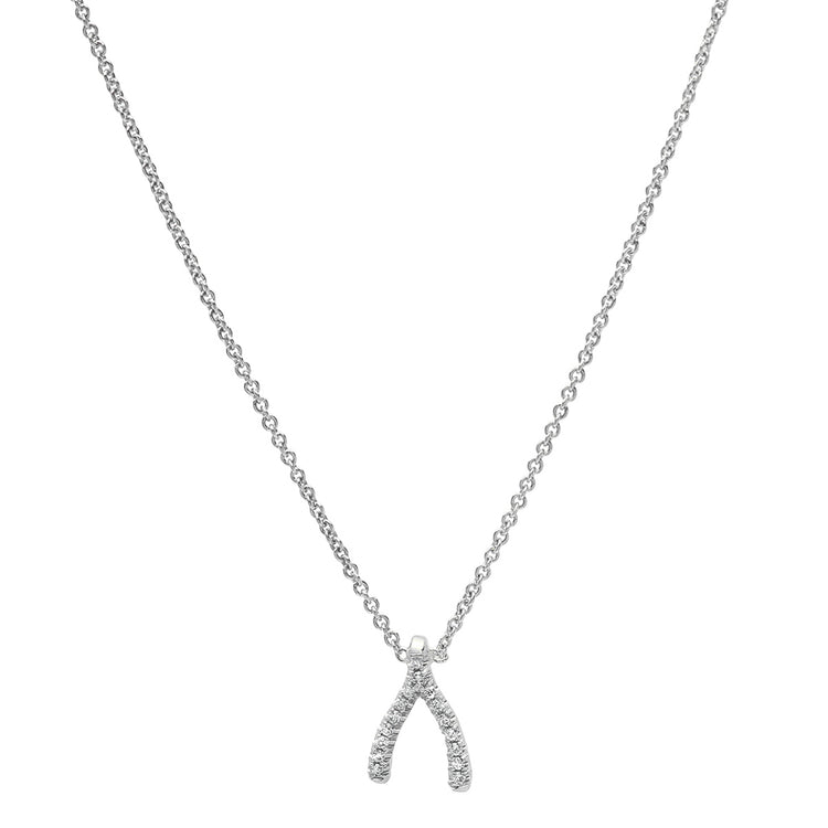 White Gold Diamond Mini Wishbone