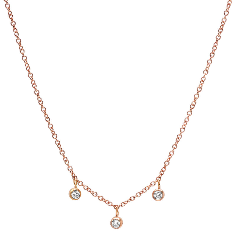 Rose Gold 3 Diamond Mini Bezel Dangle Necklace