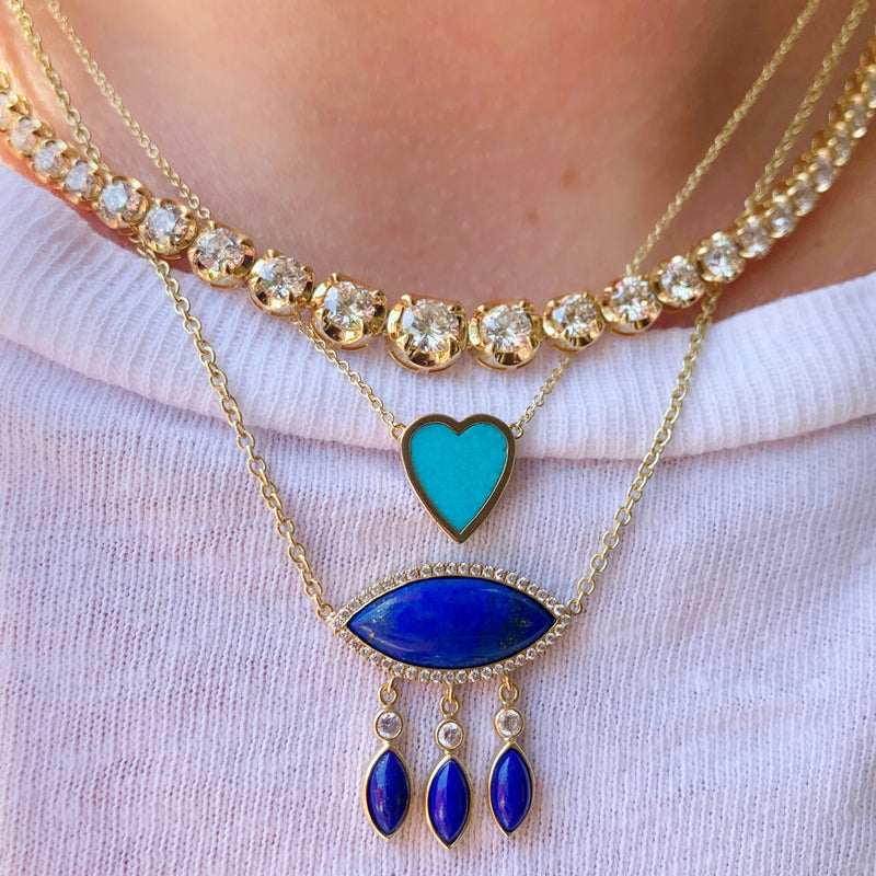 Large Lapis Marquise Necklace with Diamonds and Lapis Fringe