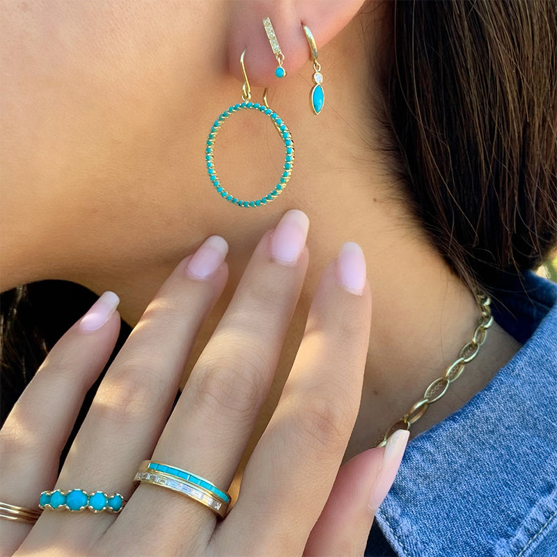Turquoise Open Circle Drop Earrings
