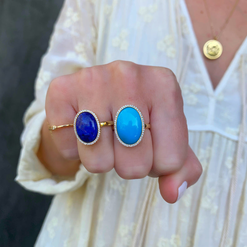 One-of-a-Kind Lapis Cabochon Ring with Diamonds