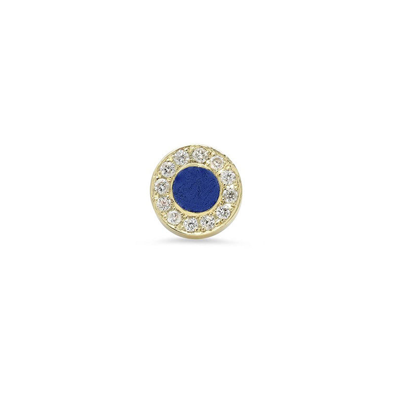 Single Lapis Inlay Circle Studs with Diamond