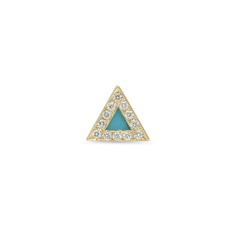 Single Turquoise Inlay Triangle Stud with Diamonds