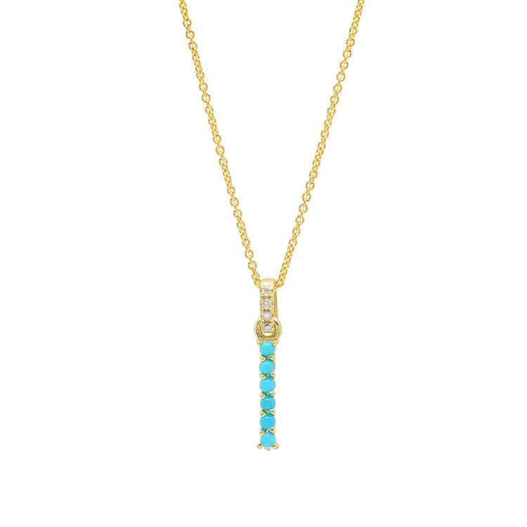 Turquoise Letter Necklace - I
