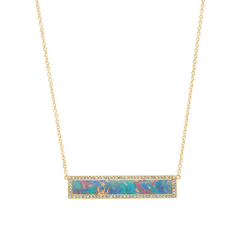 Red Boulder Opal Inlay Bar Necklace with Diamonds
