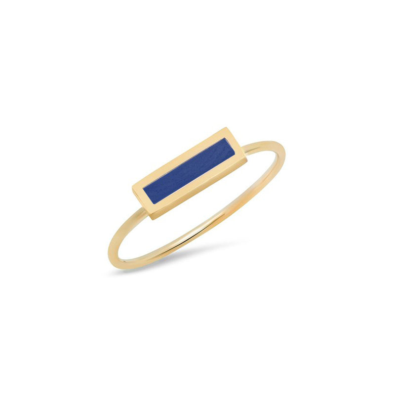 Lapis Inlay Bar Ring