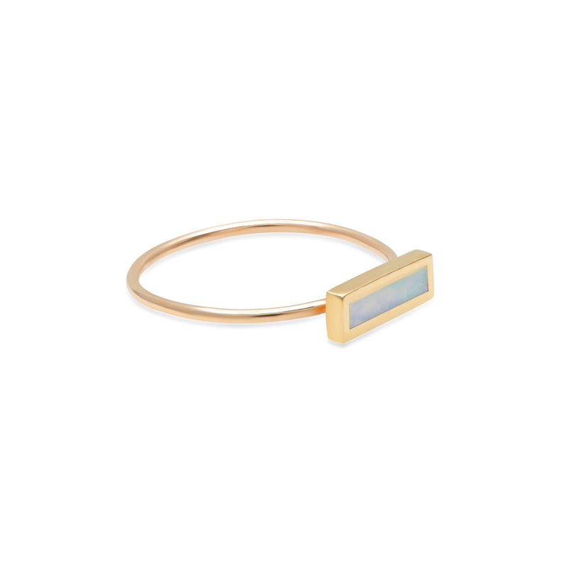Mother of Pearl Inlay Bar Ring