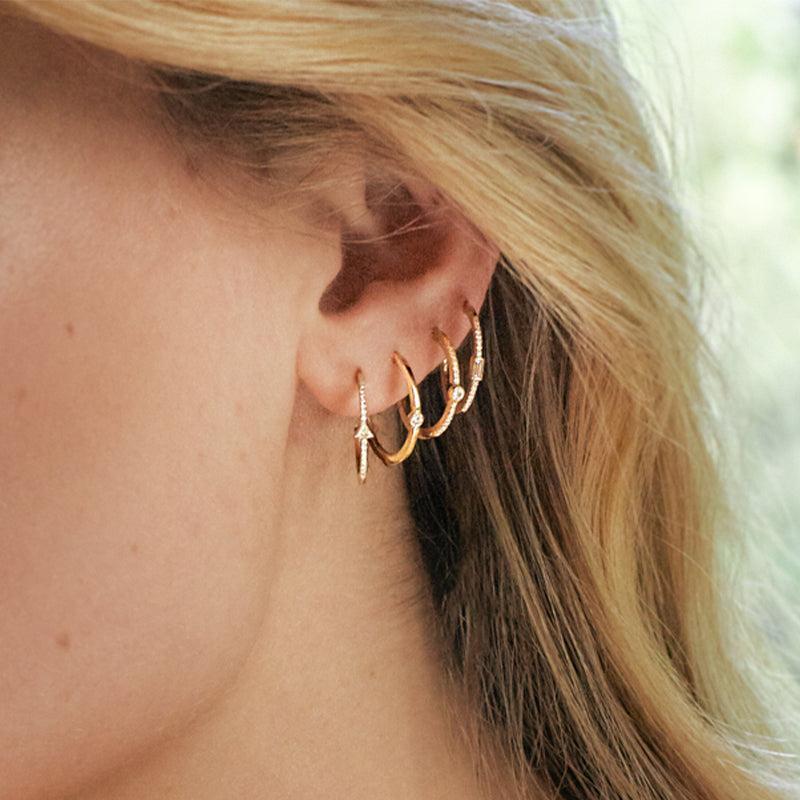 Pave Diamond Mini Trillion Hoops