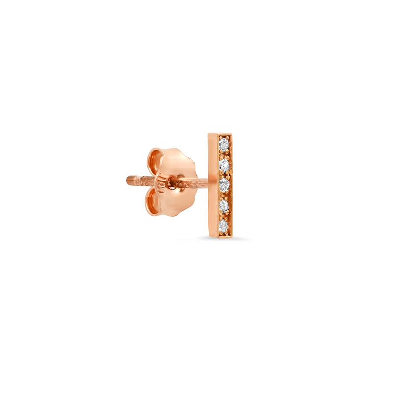 Rose Gold Diamond Bar Studs