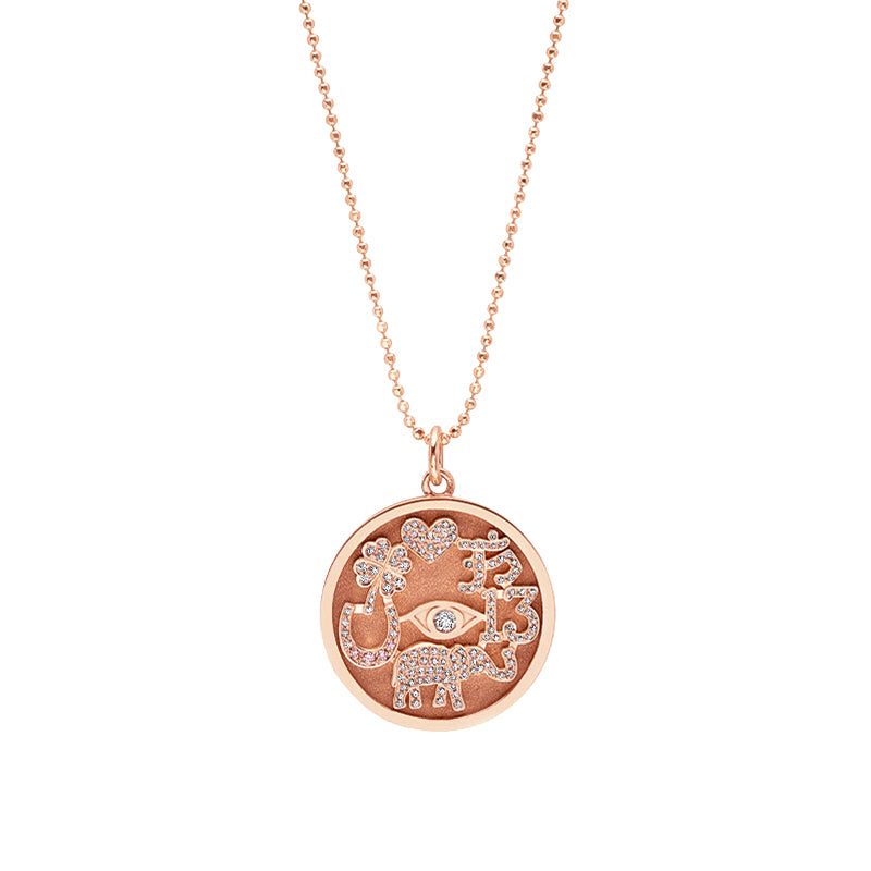 Rose Gold Diamond Good Luck Necklace