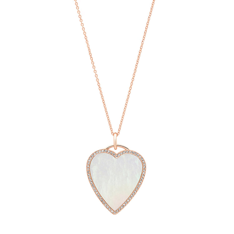 Rose Gold Mother of Pearl Inlay Heart Necklace with Diamonds
