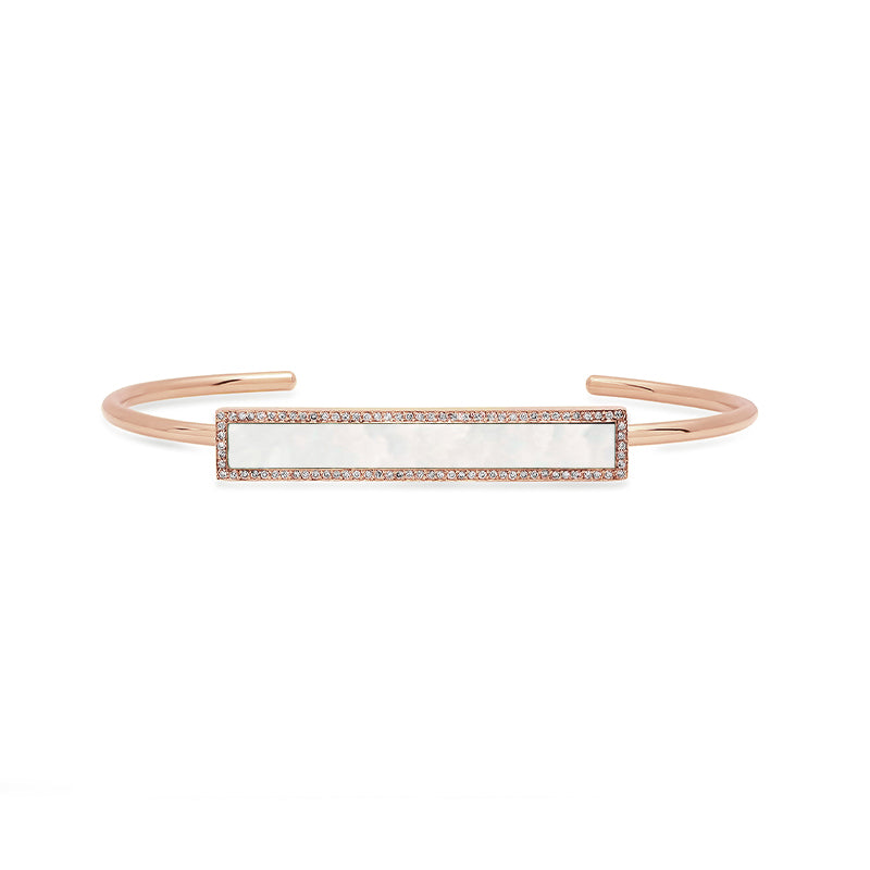 Rose Gold Mother of Pearl Inlay Bar Cuff with Diamonds