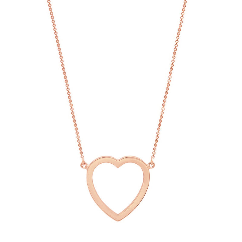 Rose Gold Large Open Heart Necklace