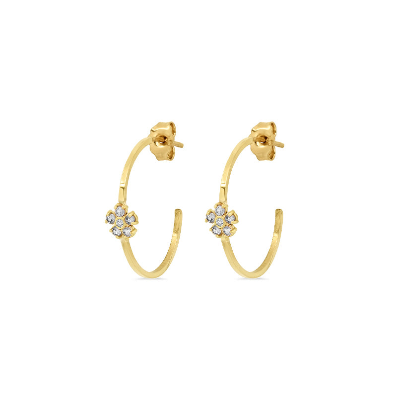 Thin Hoops with Diamond Flower Accent