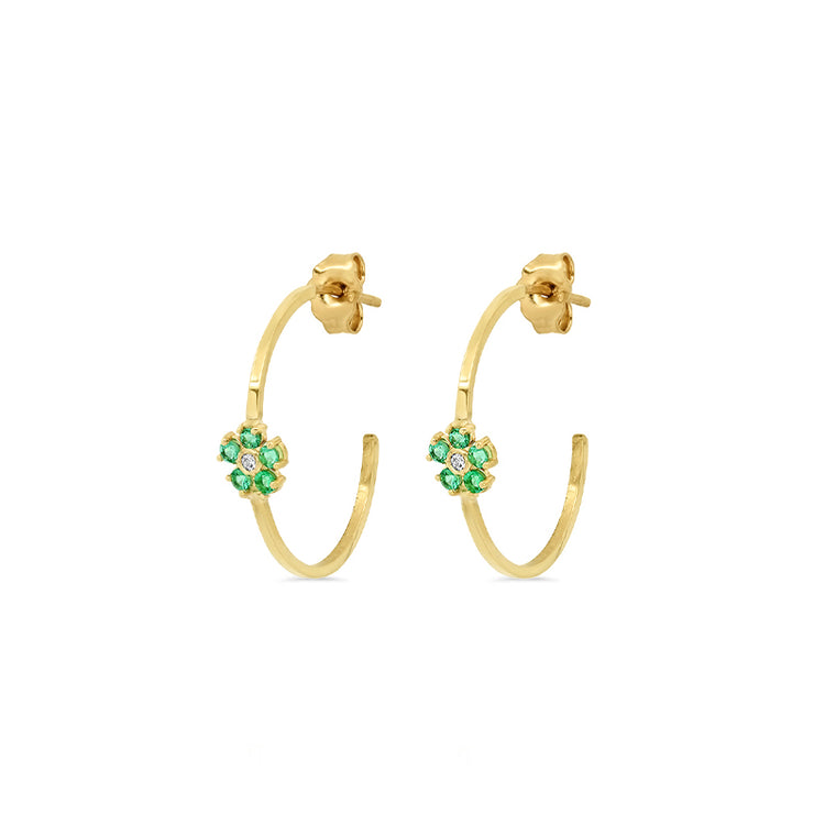Thin Hoops with Emerald and Diamond Flower Accent