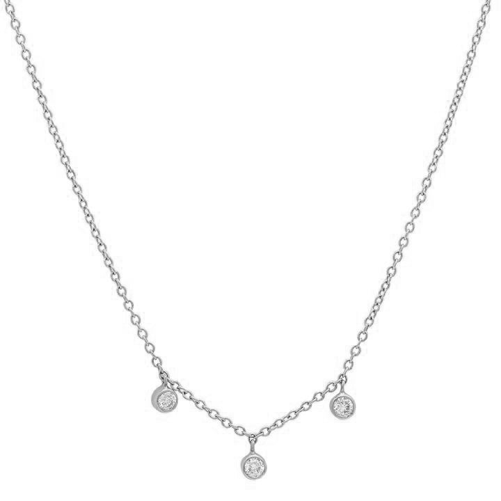 White Gold 3 Diamond Mini Bezel Dangle Necklace