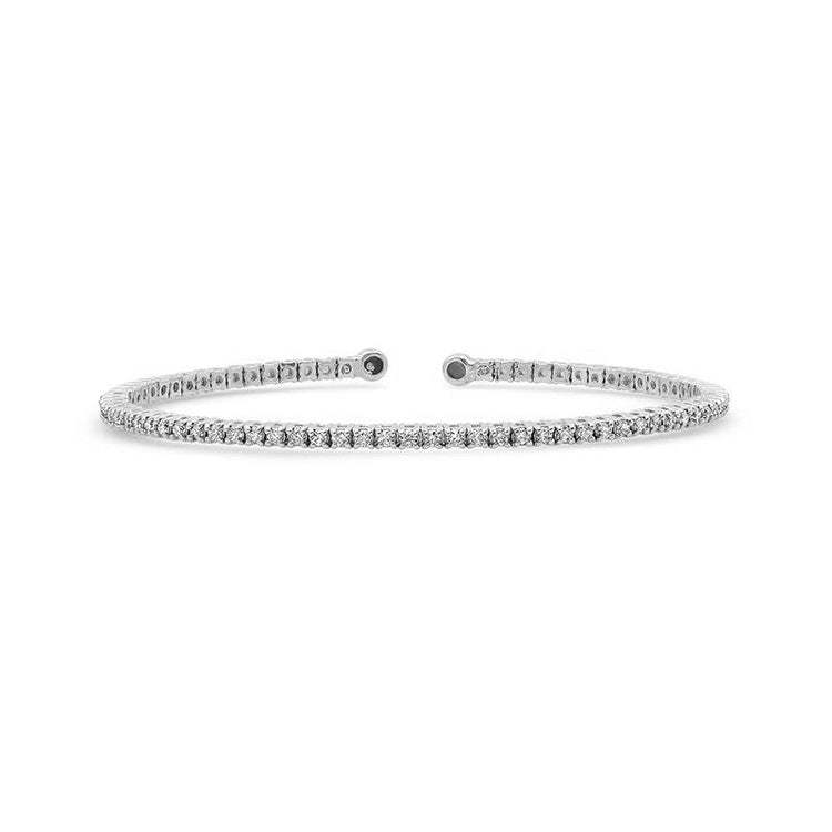 White Gold Diamond 4 Prong Tennis Cuff