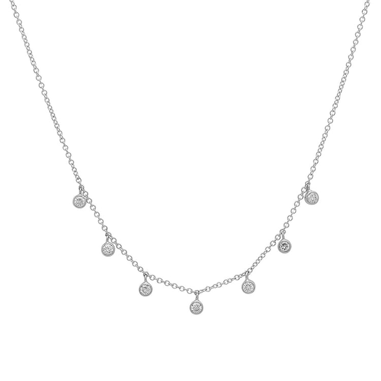 White Gold 7 Diamond Mini Bezel Dangle Necklace