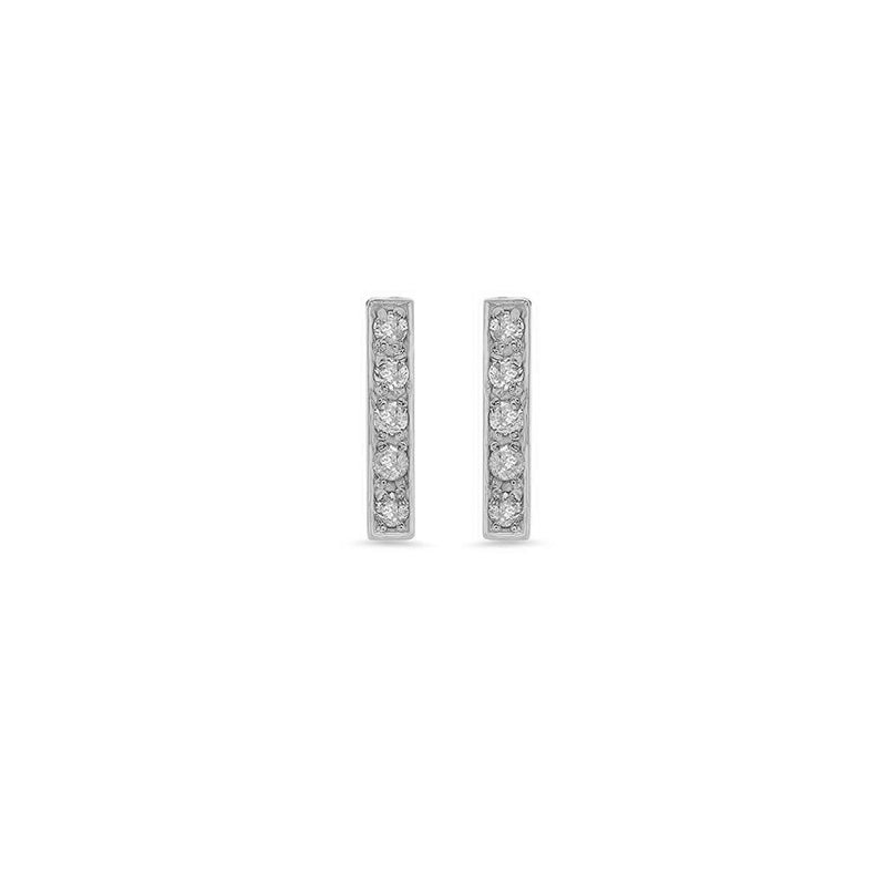 White Gold Diamond Bar Studs