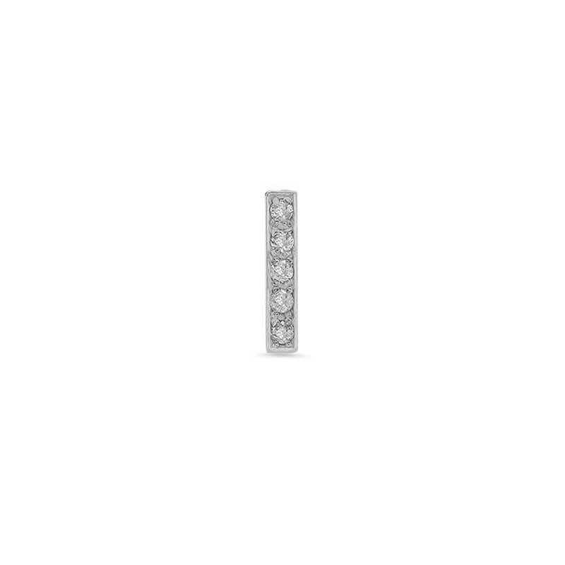 Single White Gold Diamond Bar Stud