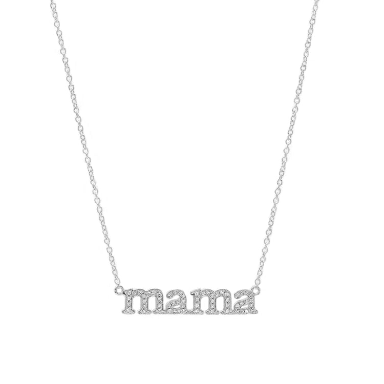 White Gold Diamond Mama Necklace