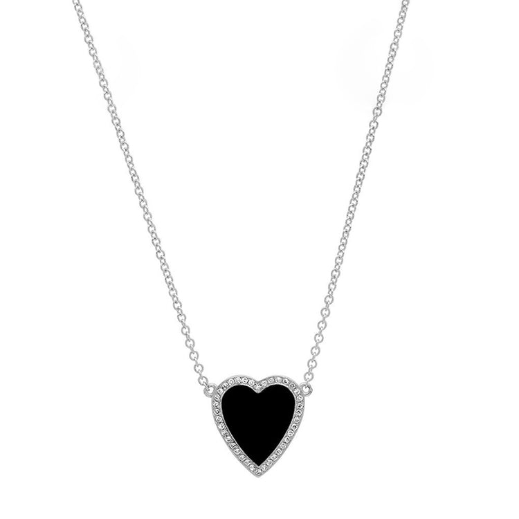White Gold Mini Onyx Inlay Heart Necklace with Diamonds
