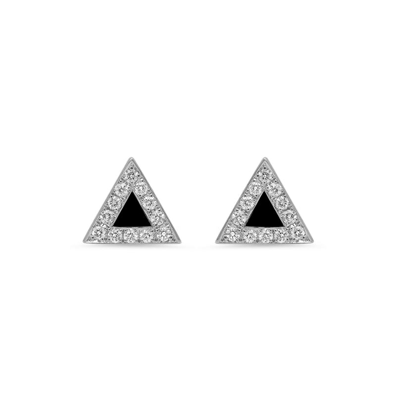 White Gold Onyx Inlay Triangle Studs with Diamonds
