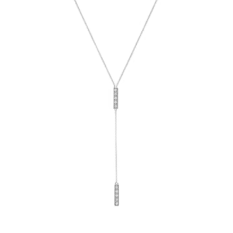 White Gold Diamond Short Bar Lariat