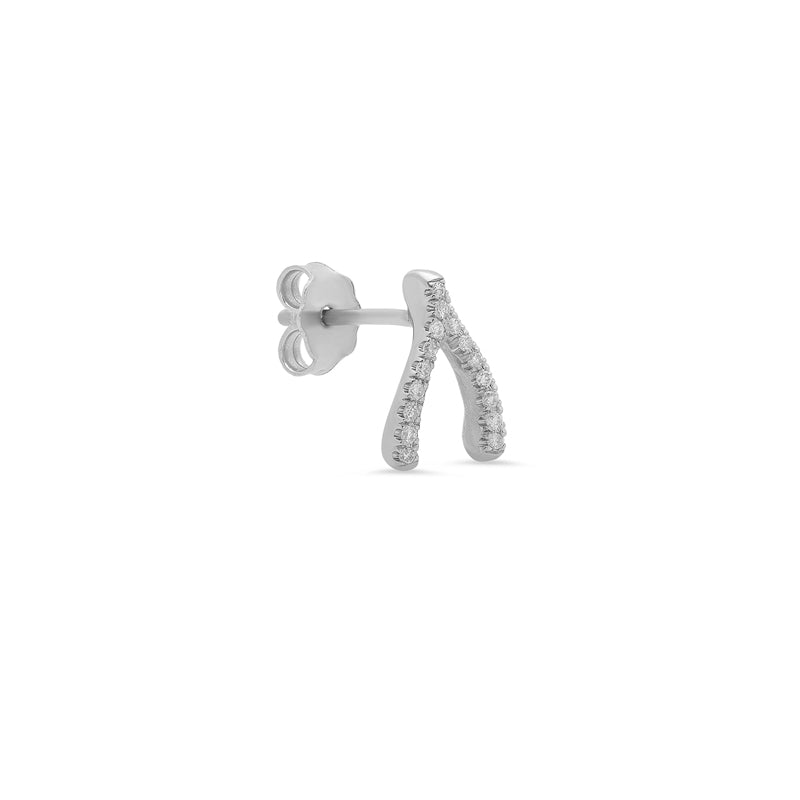 White Gold Diamond Wishbone Studs