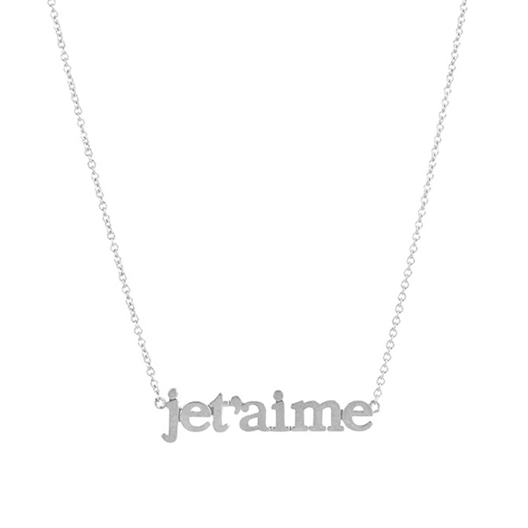White Gold Je t'aime Necklace