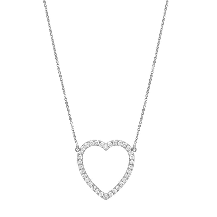 Large White Gold Diamond Open Heart Necklace