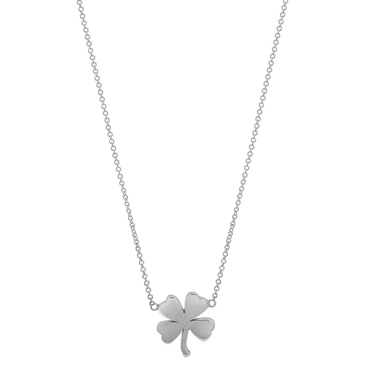 White Gold Mini Clover Necklace