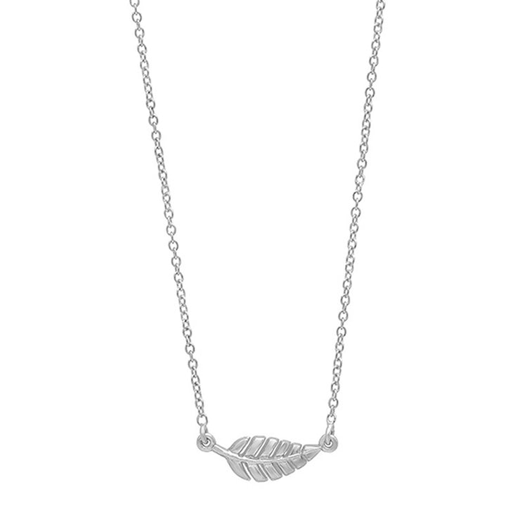 White Gold Mini Leaf Necklace