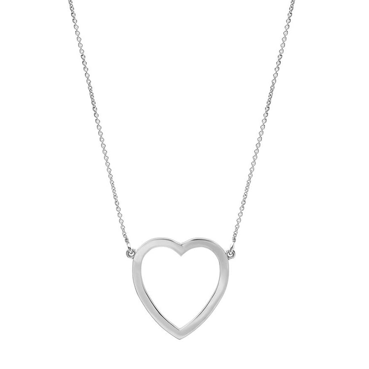 White Gold Large Open Heart Necklace