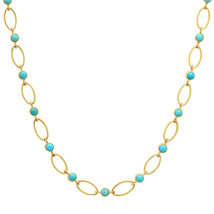 Medium Edith Link Necklace with Large Turquoise Bezel Accents