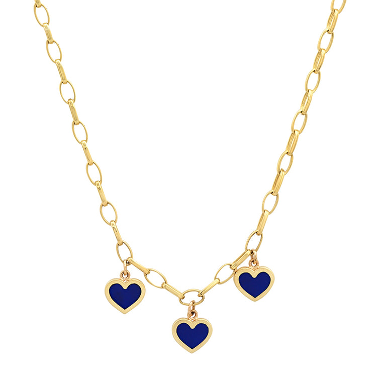 Small Edith Link Necklace with 3 Lapis Inlay Heart Drops