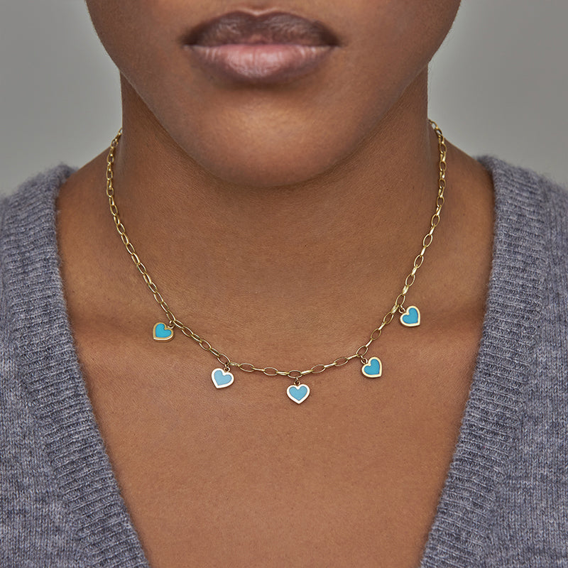 Small Edith Link Necklace with 5 Turquoise Inlay Heart Drops