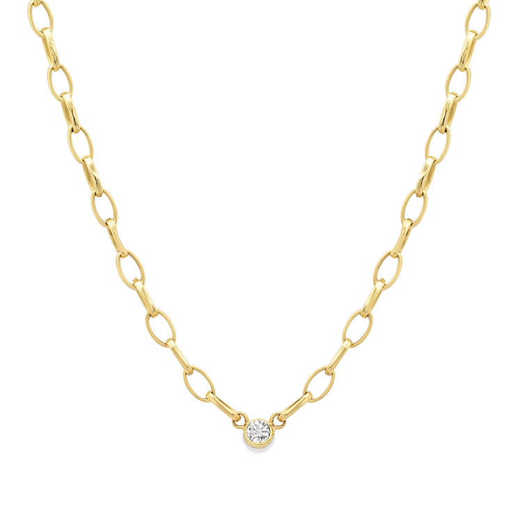 Small Edith Link Necklace with Single Bezel Accent