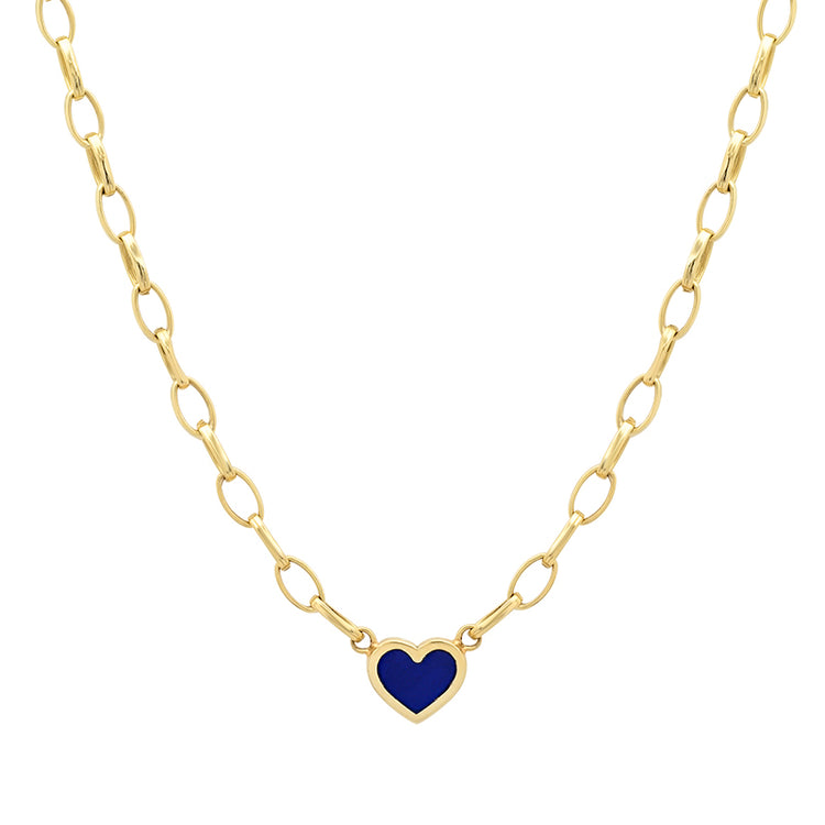 Small Edith Link Necklace with Lapis Inlay Heart
