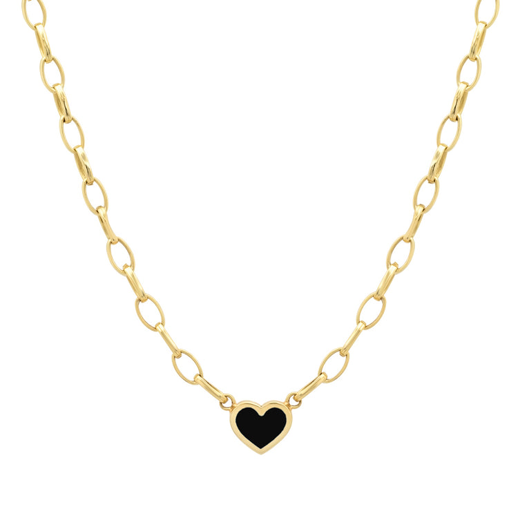 Small Edith Link Necklace with Onyx Inlay Heart
