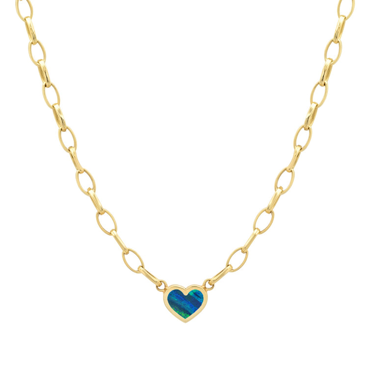 Small Edith Link Necklace with Opal Inlay Heart