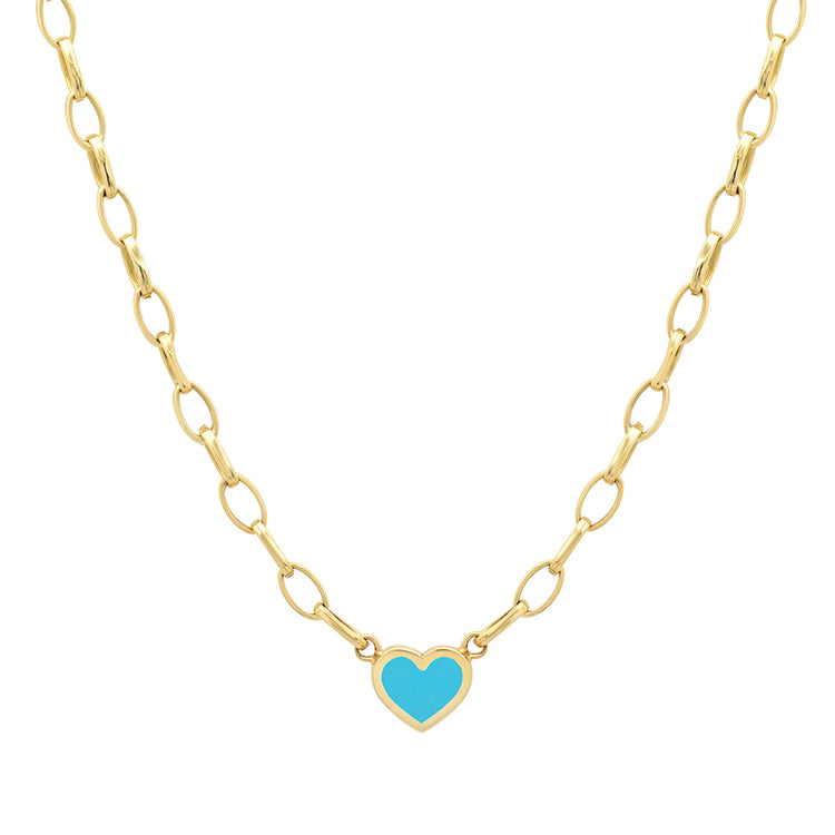 Small Edith Link Necklace with Turquoise Inlay Heart