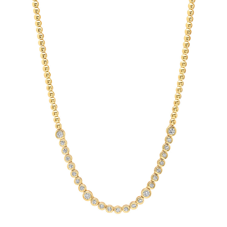 1/3 Diamond Mini Bezel Tennis Necklace with Large Diamond Accents